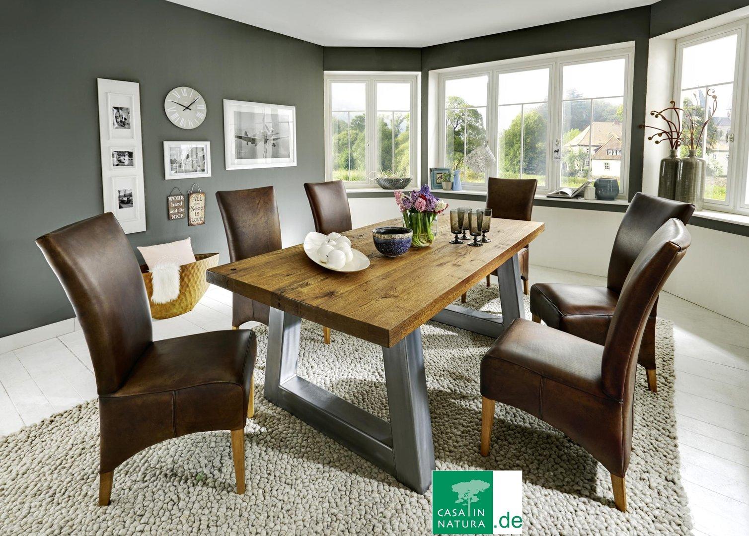 esstisch im industrial chic design farbe natur honig esstische rund und. Black Bedroom Furniture Sets. Home Design Ideas