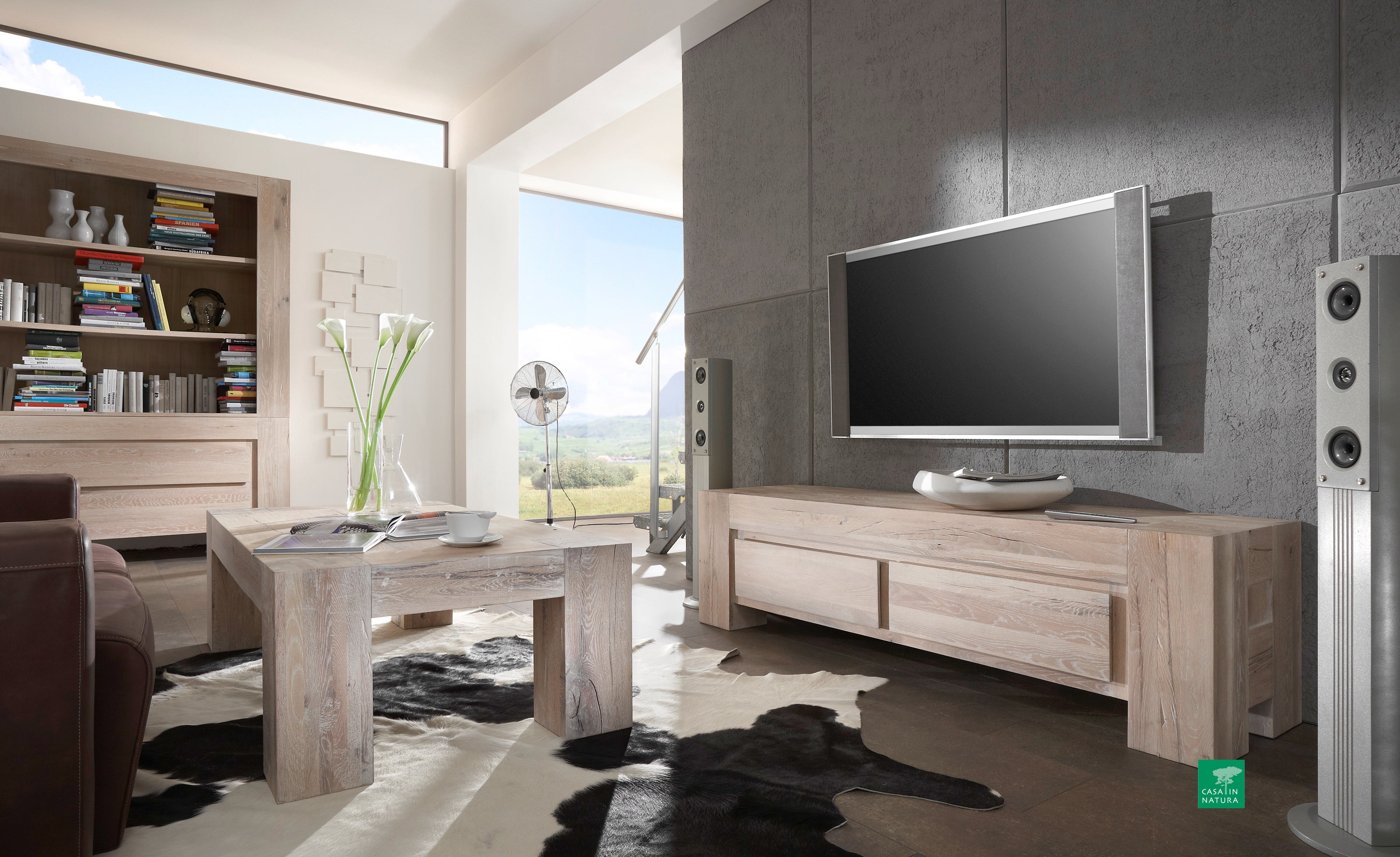 regal boston 165x220x50cm eiche wei ge lt casa innatura. Black Bedroom Furniture Sets. Home Design Ideas
