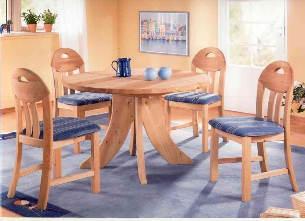 Tisch, 105 cm rund, ausziehbar, Massivholz