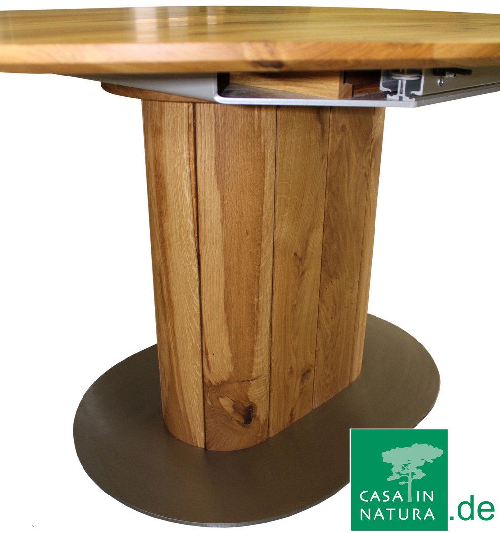 Esstisch SOLO II, oval, ausziehbar, integrierte Platte (Foto Wildeiche)