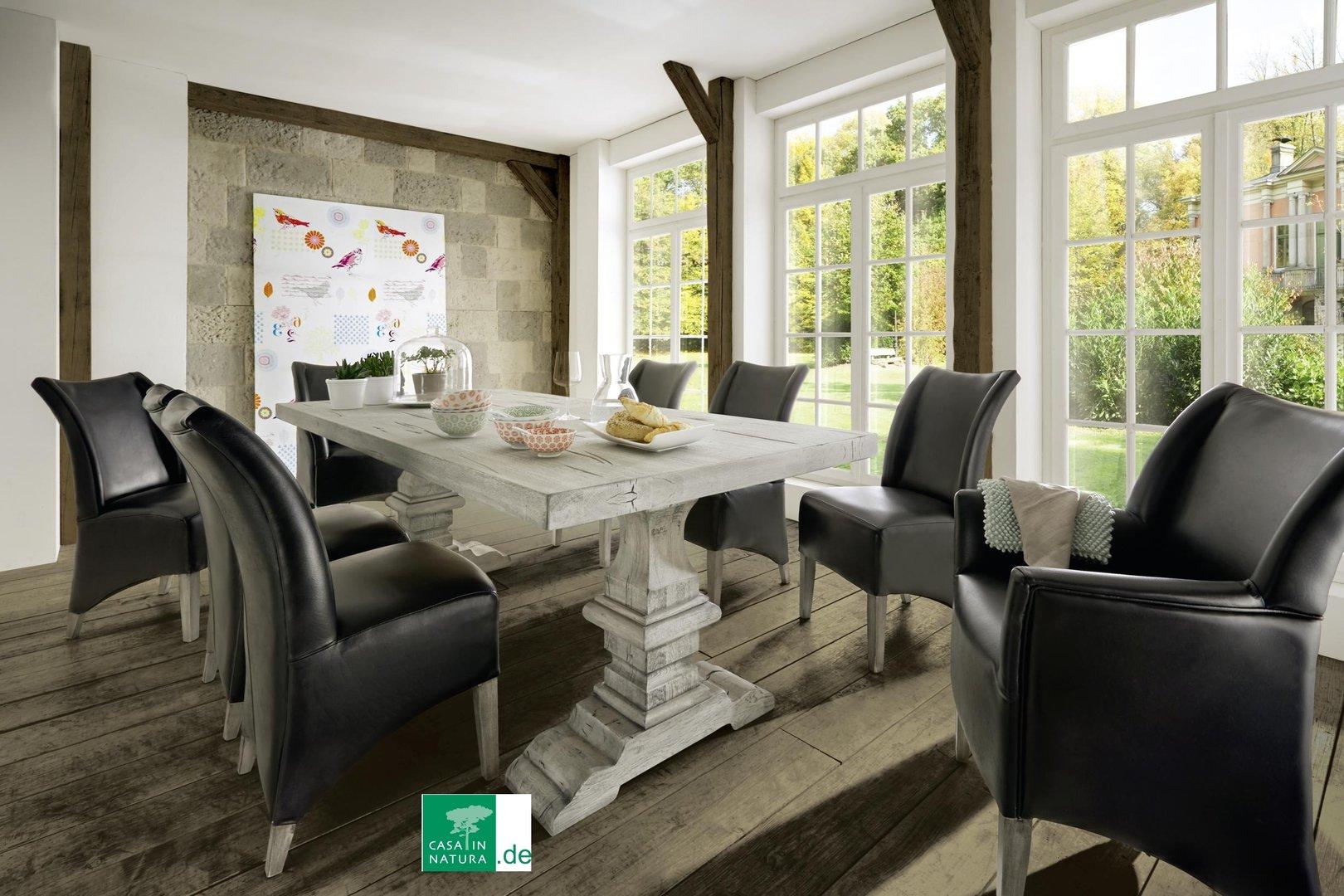 Esstisch im Shabby Chic-Design, Farbe Eisgrau - casainnatura.de